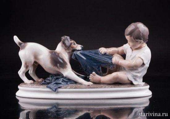 Изображение Мальчик с собакой, Dahl Jensen, Дания