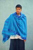 Голубой с фиолетовым индийский шерстяной плед, 900 руб.