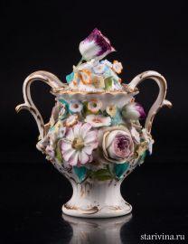 Ваза с цветочным орнаментом и крышкой, Coalport, Англия, кон. 19, нач. 20 в