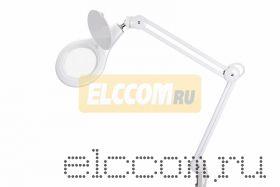 Лупа на струбцине круглая настольная 5Х с подсветкой 108 LED, белая REXANT