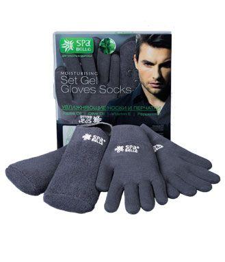 Комплект увлажняющие гелевые мужские перчатки и носки SPA Belle, цвет серый с мятой