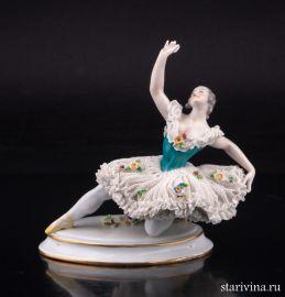 Балерина в танце, кружевная, Volkstedt, Германия, кон. 19, нач.20 в