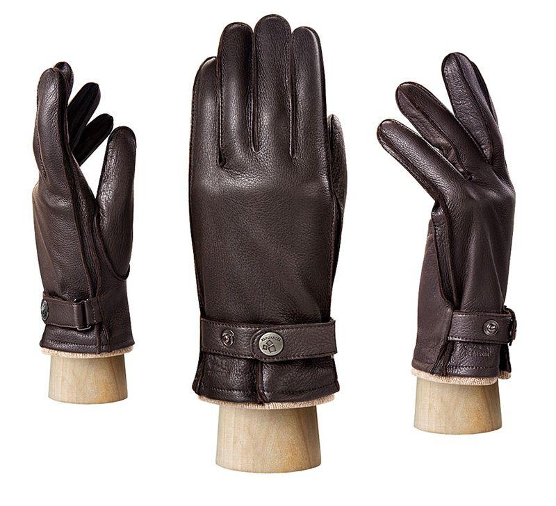 Коричневые мужскиие перчатки ELEGANZZA