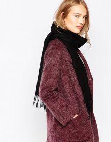 шарф 100% шерсть ягнёнка , классический черный цвет ,плотность 6