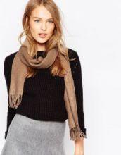 однотонный кашемировый шарф (100% драгоценный кашемир), пшеничный цвет, высокая плотность 7