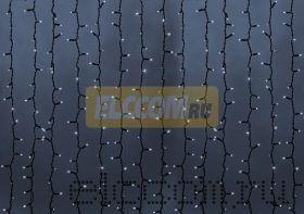 """Гирлянда """"Светодиодный Дождь"""" 2х3м, постоянное свечение, черный провод """"КАУЧУК"""", 220В, диоды БЕЛЫЕ, NEON-NIGHT"""
