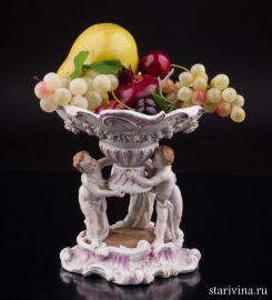 Ваза - фруктовница Три путти, Германия, 19 в., артикул 02022