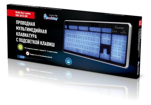Клавиатура проводная мультимедийная с подсветкой клавиш Smartbuy 301USB черно/белая