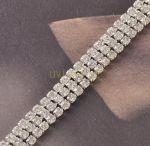 Позолоченный белым золотом браслет с 3 рядами искусственных бриллиантов