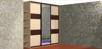 Встроенный шкаф купе с одной стойкой и косыми полками