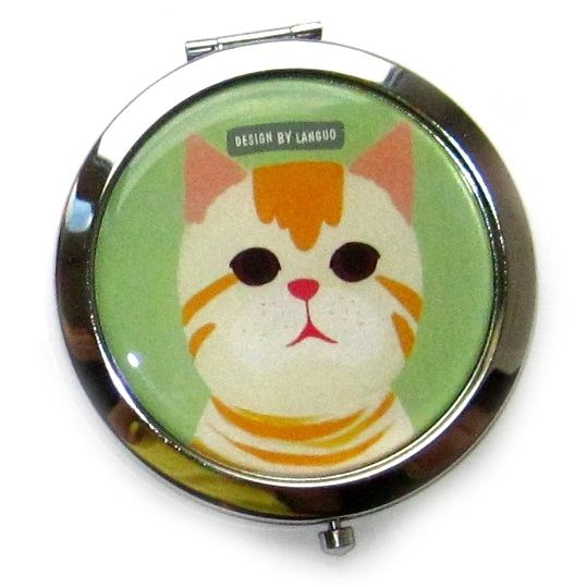 "Двойное карманное зеркало ""Cat Family"" - Mint"