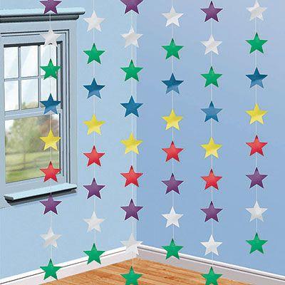 Гирлянда вертикальная Звезды мульти 6 штук
