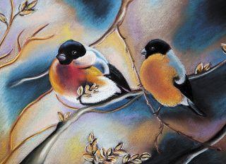 Почтовая открытка Снегири