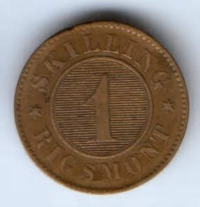 1 скиллинг 1856 г. Дания