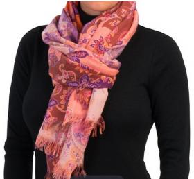 Большой тонкорунный воздушный  шотландский шарф, 100 % драгоценный кашемир , Сказочные Узоры (Пейсли Солнечный), Printed Painterly Floral плотность 3