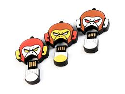 4GB USB-флэш накопитель EVIL MONKEY, злая обезьяна  бело-красная