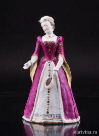 Дама с веером в средневековом платье, Дрезден, Германия, сер. 20 в