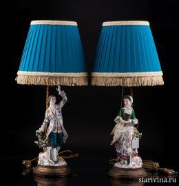 Парные лампы Танцующая пара, Sitzendorf, Германия, нач. 20 в., артикул 02076