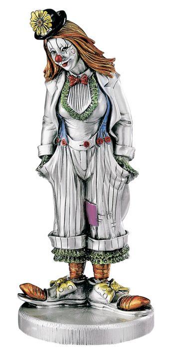 Серебряная коллекционная фигурка клоунессы в котелке (Италия)