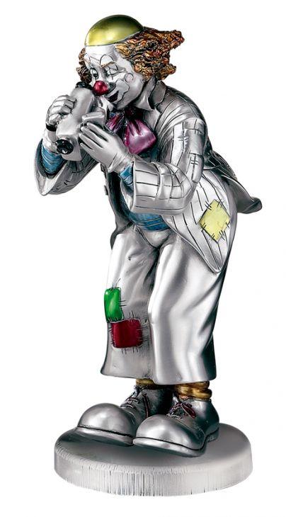 Серебряная коллекционная фигурка клоуна-фотографа (Италия)