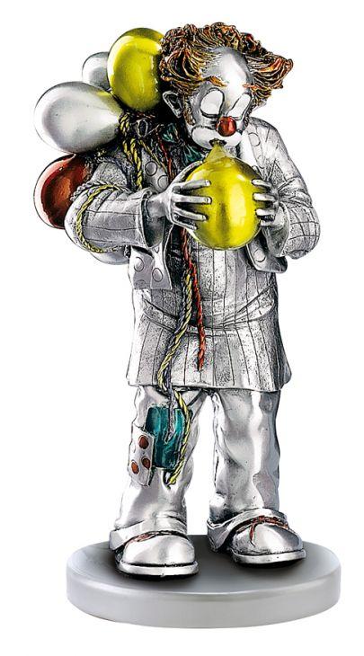 Серебряная коллекционная фигурка клоуна с воздушными шарами (Италия)
