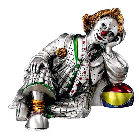 Серебряная коллекционная фигурка клоуна сидящего с мячом (Италия)
