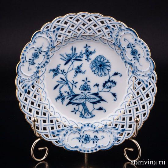 Декоративная тарелка с ажурным краем производства Meissen, Германия