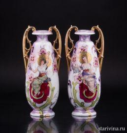 Две вазы в стиле Модерн, Royal Wien, Австрия, кон. 19, нач. 20 в