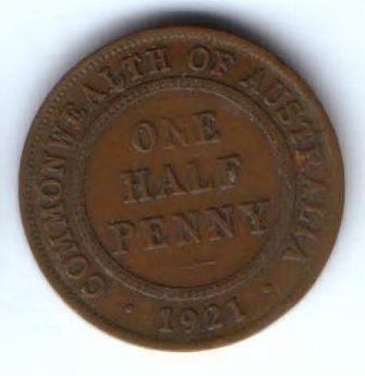 1/2 пенни 1921 г. Австралия