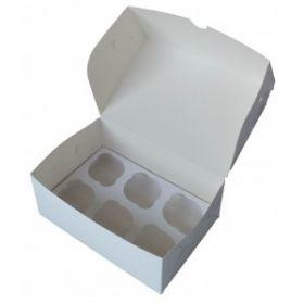 Короб картонный белый под 6 капкейков 25х17х10см 10шт/уп