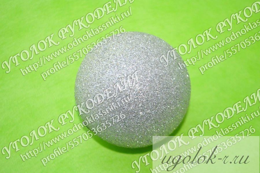 Пенопластовый шар 80 мм в блестках