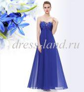 Синее вечернее платье без бретелей с кристаллами