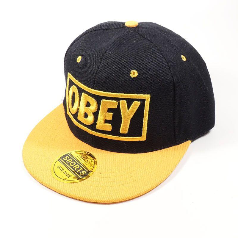 Кепка Obey (черная с желтым козырьком)