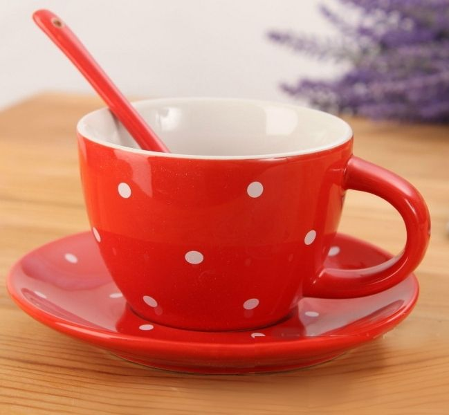 Чашка с блюдцем и ложкой «Ribbon Dots» - Red