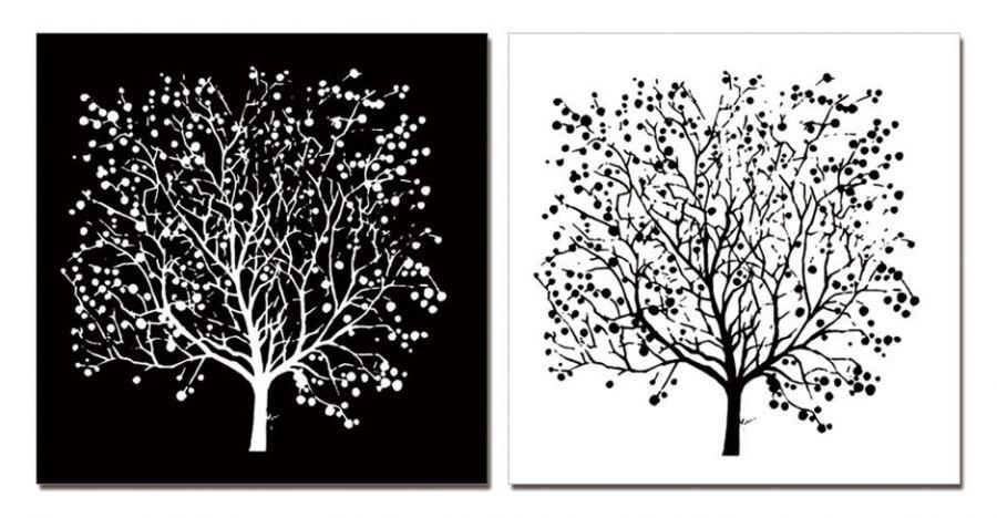 """Модульная картина """"Двойное дерево"""" черно-белая 50х50"""