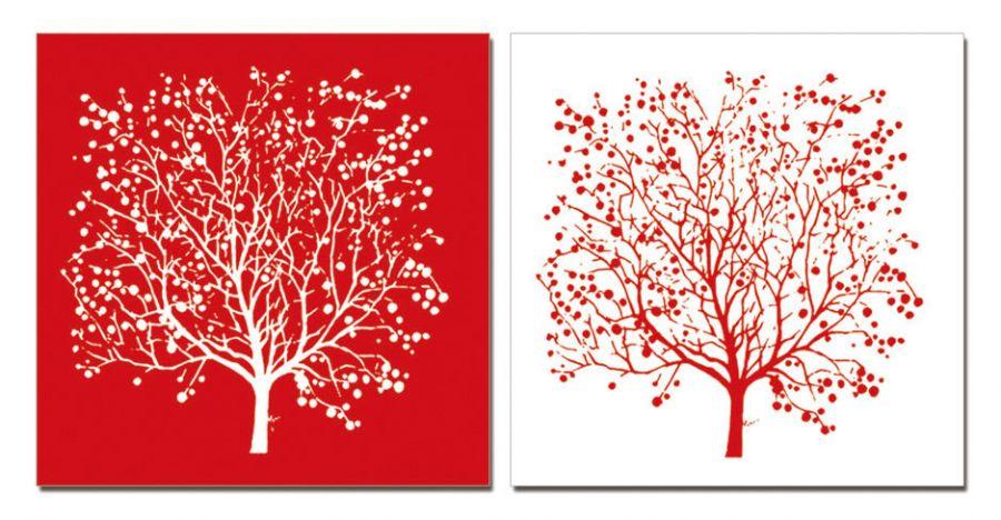 "Модульная картина ""Двойное дерево"" красная 40х40"