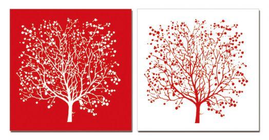 """Модульная картина """"Двойное дерево"""" красная 40x40"""