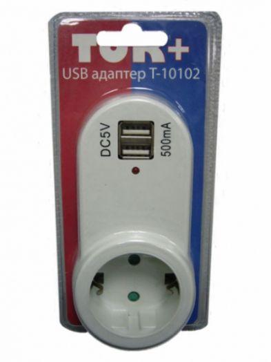 """Адаптер сетевой """"Ток+"""" на 1 гнездо + 2 гнезда USB, 220В, 16А (Т10102)"""