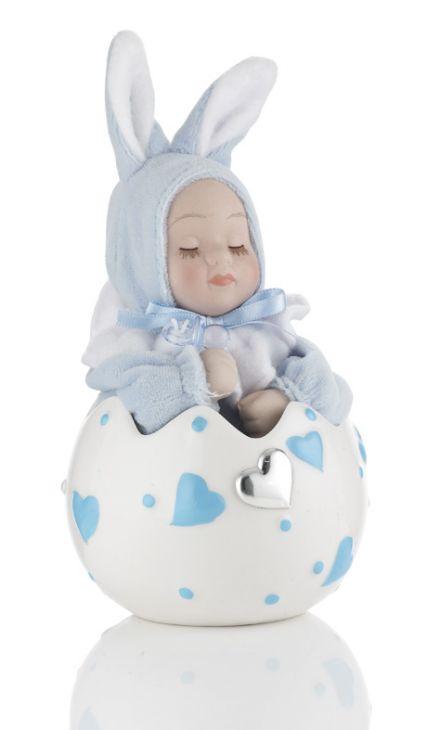 Музыкальное яйцо (розовое или голубое) с малышом в подарок ребенку и будущей маме (Италия)