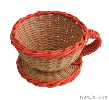 Плетеная конфетница, красная