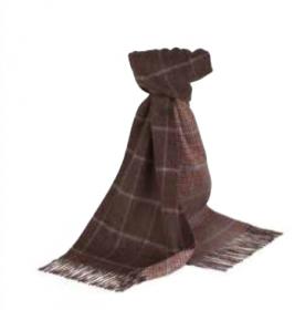 Роскошный двусторонний кашемировый шарф (100% драгоценный кашемир), Знаменитый Ганчек ШОКОЛАДНЫЙ  CHOCOLATE  WINDOWPANE  GUNCLUB,   высокая плотность 7