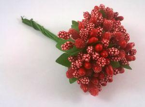 Тычинки в связках перламутровые, цвет - красный, 1уп = 6 связок (1 связка = 11-12 букетиков)