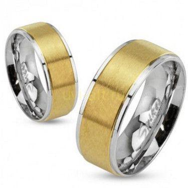 Стильное стальное кольцо Spikes с матированным золотом (арт. 280107)