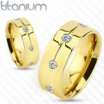 Стильное позолоченное титановое кольцо Spikes с искусственными бриллиантами