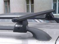 Багажник на рейлинги Лада Ларгус, Евродеталь, аэродинамические дуги, черный цвет