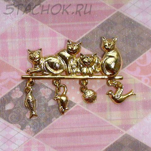 """Брошь """"Запасливые котики"""" под золото"""