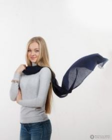 невесомый тонкорунный  палантин (большой шарф) 100% шерсть мериноса, Темно-синий  Navy. плотность 1