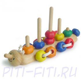 """I'm toy. Игрушка """"Гусеница"""" - пирамидка деревянная"""