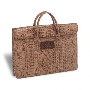 Женская деловая сумка BRIALDI Vigo (Виго) croco cappuccino