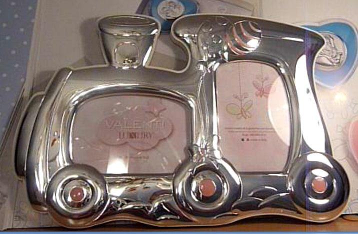 Детская серебряная фоторамка Паровозик, на 2 фото 6*9 см. (Италия)